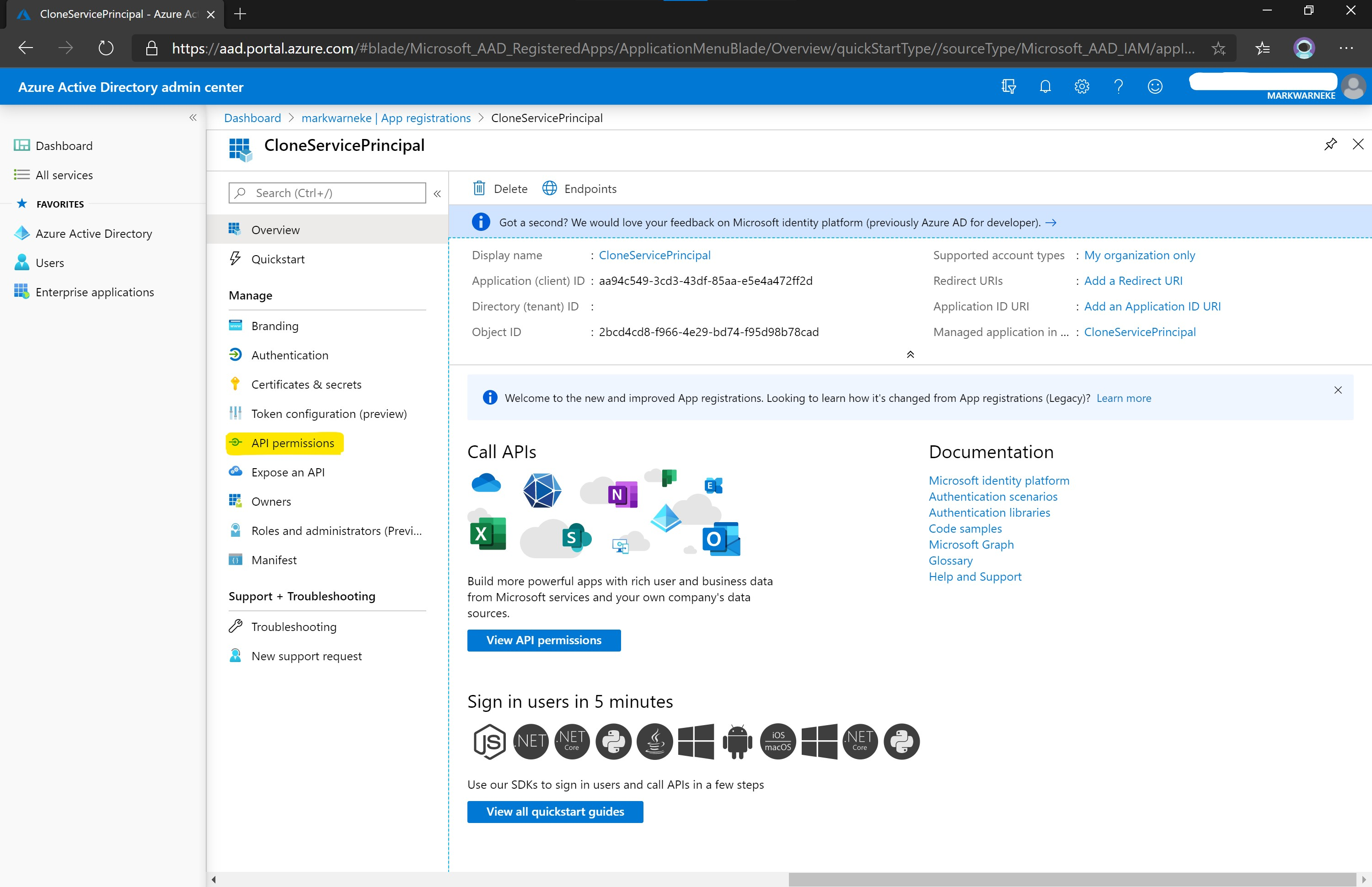 Azure Active Directory admin center App registrations