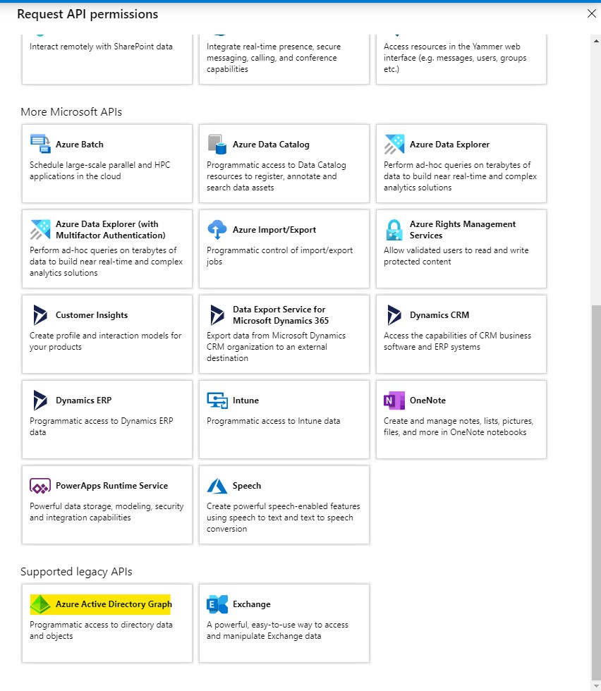 Azure Active Directory admin center App registrations Add permissions APIs