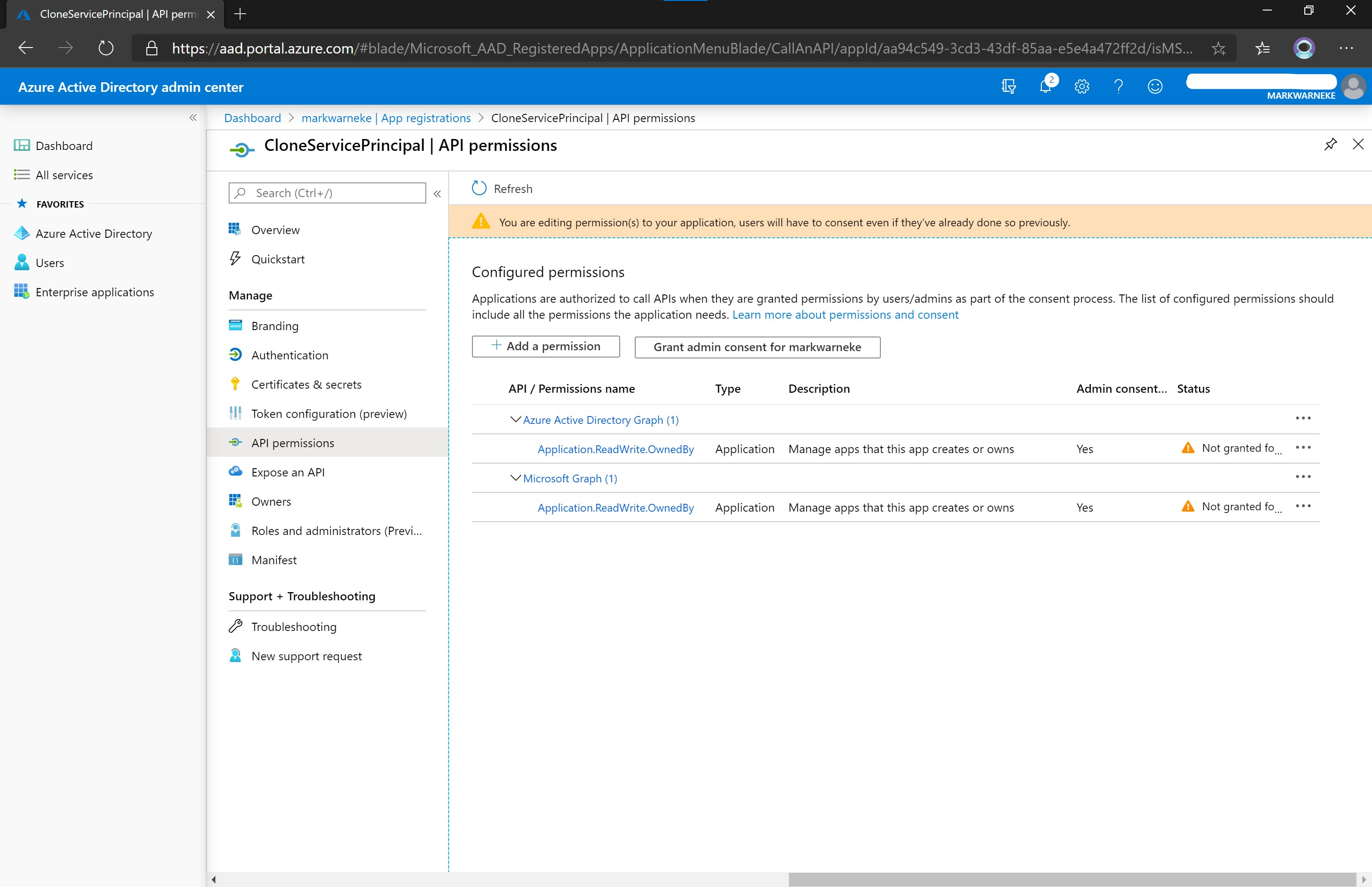 Azure Active Directory admin center App registration Add permissions Granting
